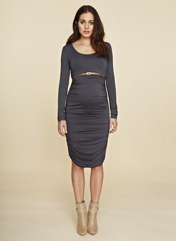 Ruched Midi Dress Simple and sophisticated, this maternity dress has been designed in our easy care jersey. With a flattering ruched body, scoop neck and long sleeves, this dress falls with a soft drape below the knee and will look chic at every stage of your pregnancy.