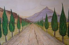 one point perspective - Italian Tuscan landscape