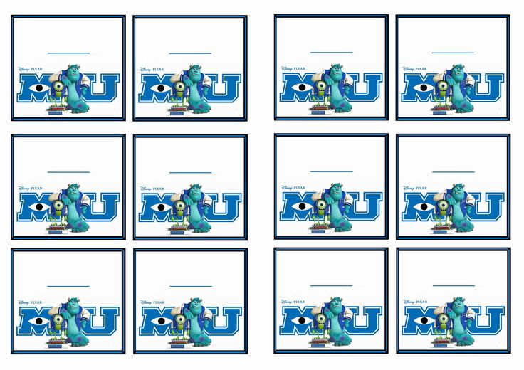 FREE Printable Monsters University Themed Name Tags