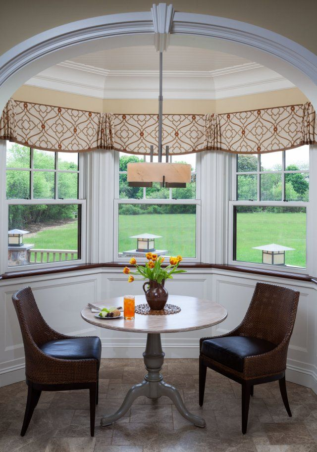 I love the simple design of these bay valances. Mostly flat with corner pleats.  Just wouldn't be the same without the banding.  Well done! I probably would have brought them all the way up to the bottom of the crowne