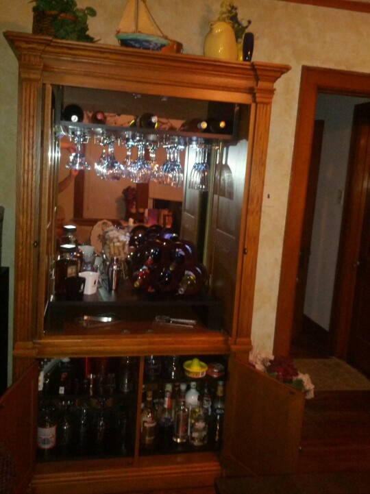 Our TV armoire turned into our new bar.. love it
