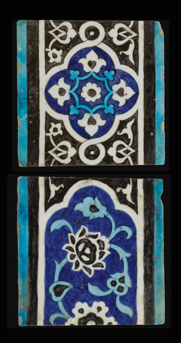 TWO OTTOMAN 'DOME OF THE ROCK' TILES, GREATER SYRIA, MID 16TH CENTURY each of square form, decorated in cobalt blue, turquoise and black; one comprising the end of a cartouche with a large lotus flower and emanating scrolling foliate; one with an ogival medallion filled with palmettes and surrounded by interlacing arabesques