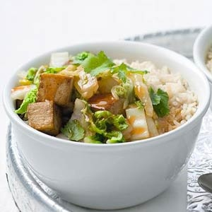 Rijst met gemarineerde tofu