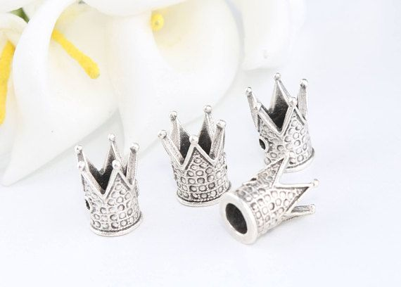 Antique Silver Crown Beads Crown Charms Antique Sİlver Men
