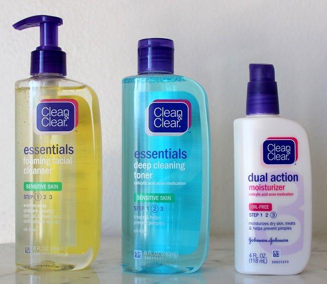 Review Clean Clear Essentials Sensitive Skin Routine Daily Ellement In 2020 Skin Routine Sensitive Skin Routine Sensitive Skin