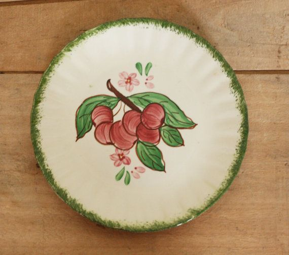 vintage blue ridge pottery plate cherry pattern | Blue