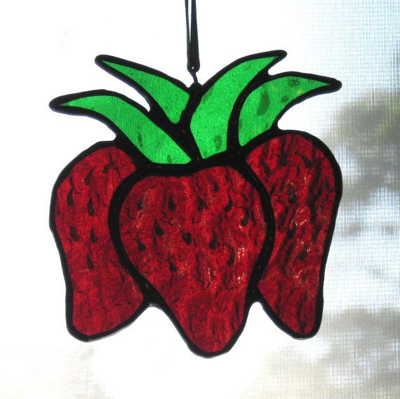 Stained Glass Strawberry Trio Sun Catcher by windflower on Etsy, $12.00