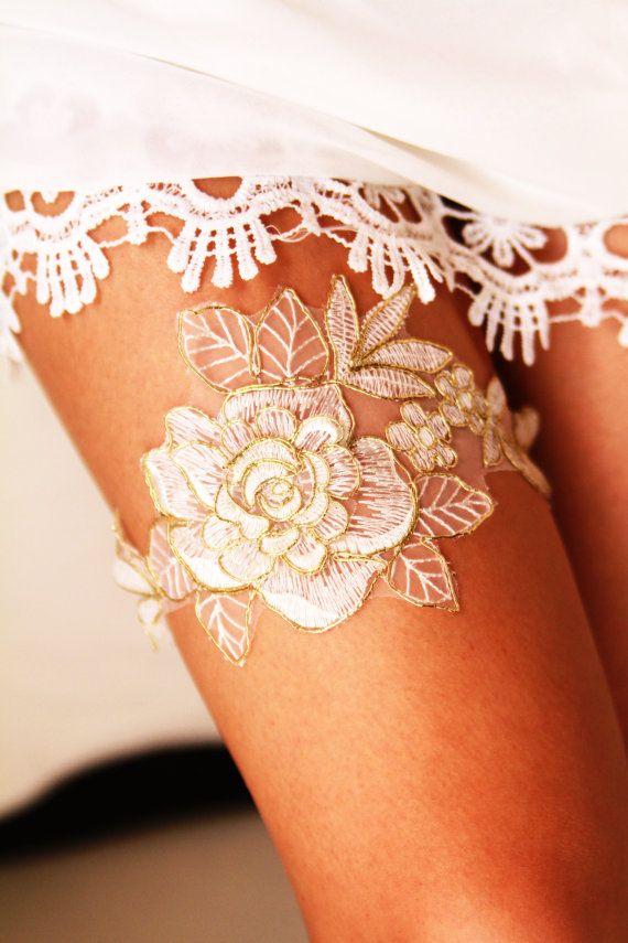 Bridal Garter Wedding Garter Bridal Lace Garter - Rustic Wedding Garter Bohemian Ivory /Antique White & Gold Golden Rose Flower