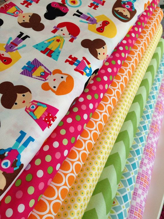 Super kids superhero quilt or craft fabric bundle by ann for Childrens fabric bundles