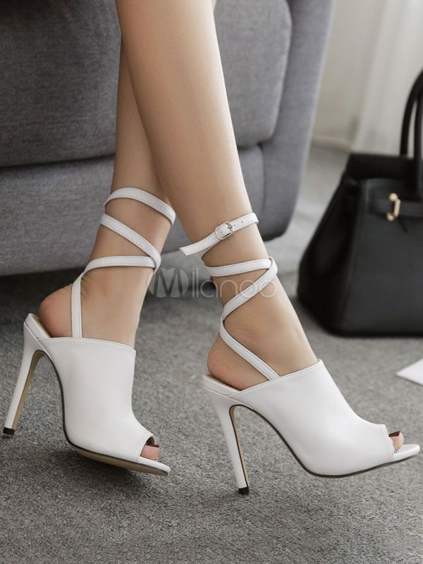 10bfee7cff1f97 High Heel Sandals White Peep Toe Slingbacks Stiletto Heel Sandal Shoes  Women Strappy Sandals