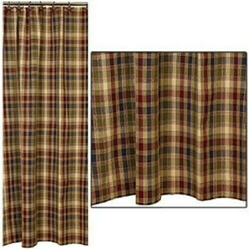 Primitive Pemberton Shower Curtain Navy Wine Green Tan Plaid 72