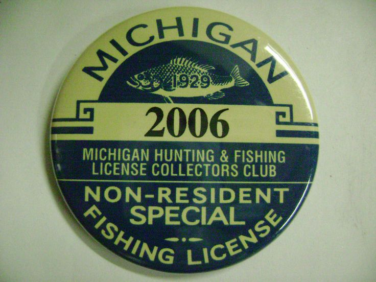 1929 michigan non resident special fishing license button for Michigan out of state fishing license