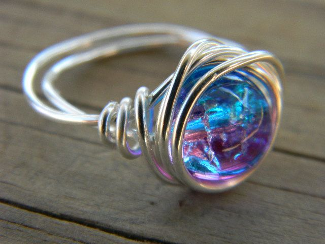 Silver plated wire wrapped cracked ice pink and blue ring.