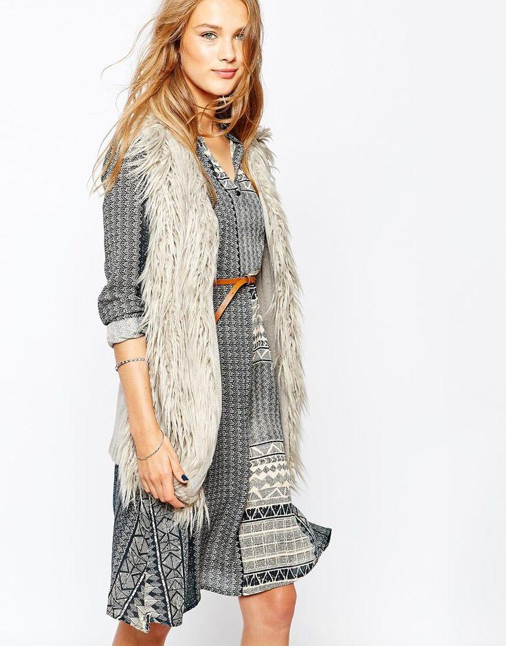 Vila Faux Fur Knitted Gilet