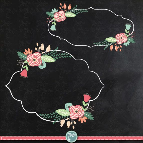 Chalkboard Wedding Clipart WEDDING FLORA FRAME clip por YenzArtHaut