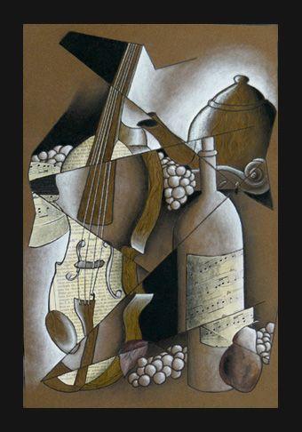 Cubism-value study-mixed media