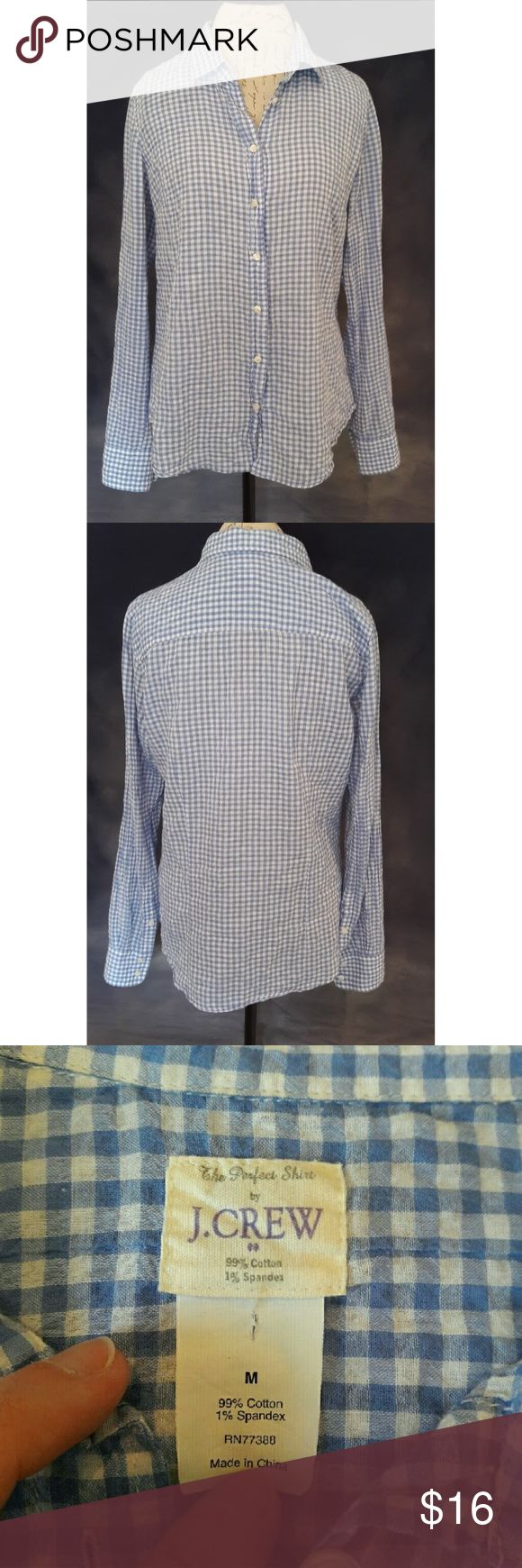 *LAST DROP* {J. Crew} checkered shirt Very cute blue and white button down shirt to wear with your favorite jeans. Great to pair with a white cami underneath. No flaws except on the tag there is a little hole (see pic). Does not affect wear. Measurements provided in pics above. From a smoke and pet free home. Very fast shipping. Bundle and save even more. J. Crew Factory Tops Button Down Shirts