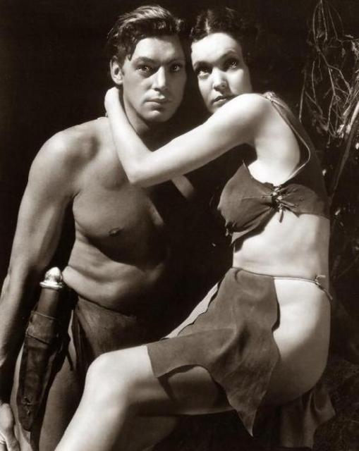 Tarzan - Johnny Weissmuller Maureen O'Sullivan as Jane. The last three also included Johnny Sheffield as Boy.