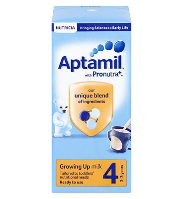 #Aptamil Growing Up Milk 4 2-3 years 200ml 10168441 #0 Advantage card points. Aptamil Growing Up Milk 4 2-3 years 200ml contains a unique blend of ingredients and is tailored to your toddlers nutritional needs. FREE Delivery on orders over 45 GBP. (Barcode EAN=5051594003538)