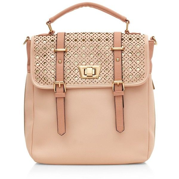 Stone Laser Cut Flap Satchel (212.970 IDR) ❤ liked on Polyvore