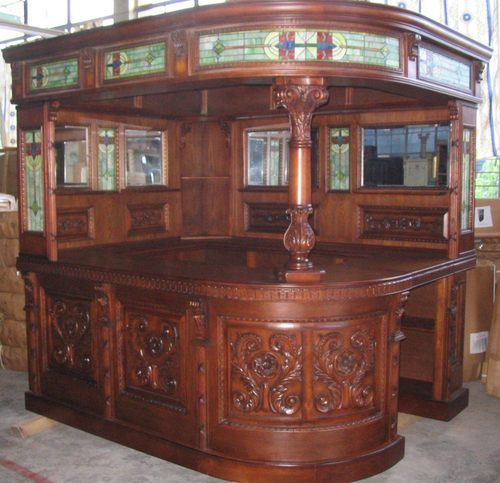 Victorian English Irish Sty Corner Pub Bar Furniture Antique Oak Wood English Victorian And