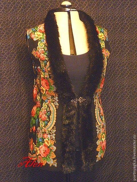 Купить Жилет из ППП Летние сумерки - цветочный, жилет, павловопосадский платок, русский стиль