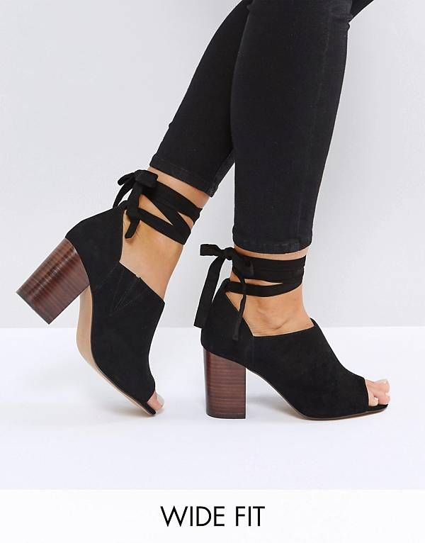 57a81d969 ASOS OMEN Wide Fit Tie Leg Heeled Shoes | Closet in 2019 | Shoes ...