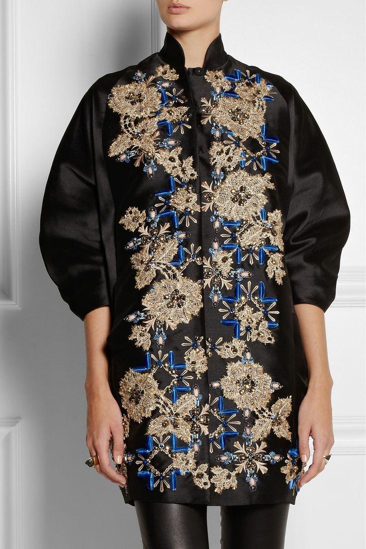 Biyan|Hyuana embellished shantung coat|NET-A-PORTER.COM