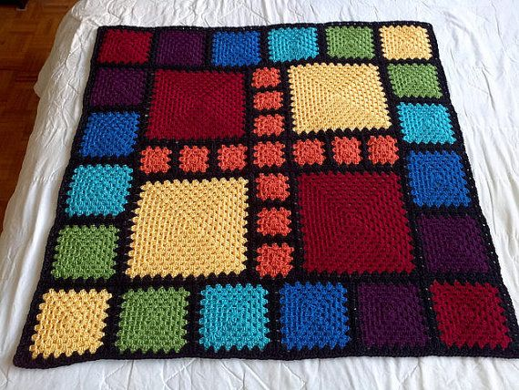 Crochet Blanket Pattern pdf: ASA Baby 2 - granny squares with an end-saving crochet join and modern layout, RH & LH schematics, scrap-ghan