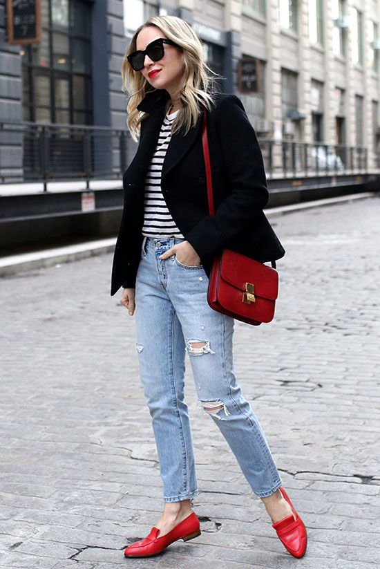 10 Chic Valentines Outfits For Every Girls Style Fashion Blogger Brooklyn Blonde Wearing A Black Peacoat A Stripe Tee Distressed Jeans Red Loafers