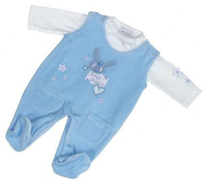 """Beautiful Premature Baby Boy outfit with """"Sweet Dreams"""" Rabbit design on the front and Two Patch pockets. Fantastic outfit for your newborn. Dungarees made from 80% Cotton and 20% Polyester Velour. The Top is 100% Cotton. Available in sizes 3-5lbs, 5-8lbs, Newborn, 0-3 Months."""