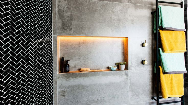 The Block 2015 Dean & Shay bathroom. Burnished brass and black with concrete.