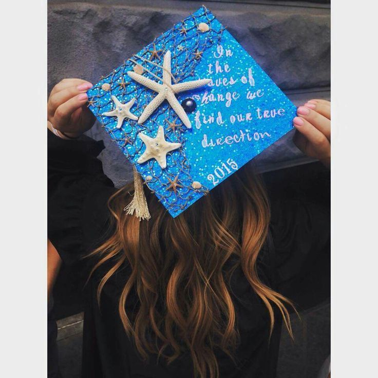 In the waves of change we find our true direction graduation cap class of 2015 college ocean seashell starfish shell - #change #Class #college #direct...
