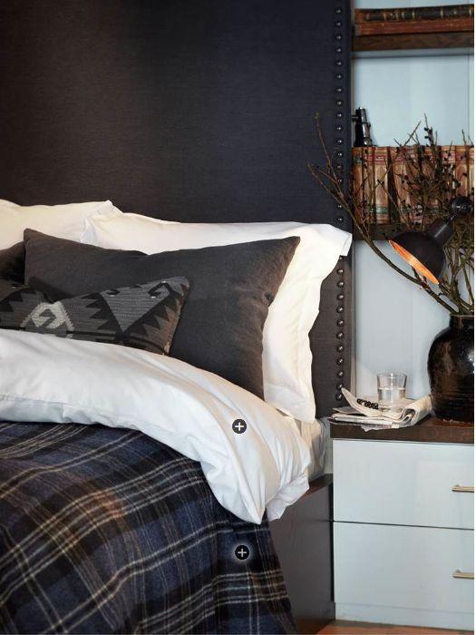 Lodge bedroom-love plaid bedding and headboard