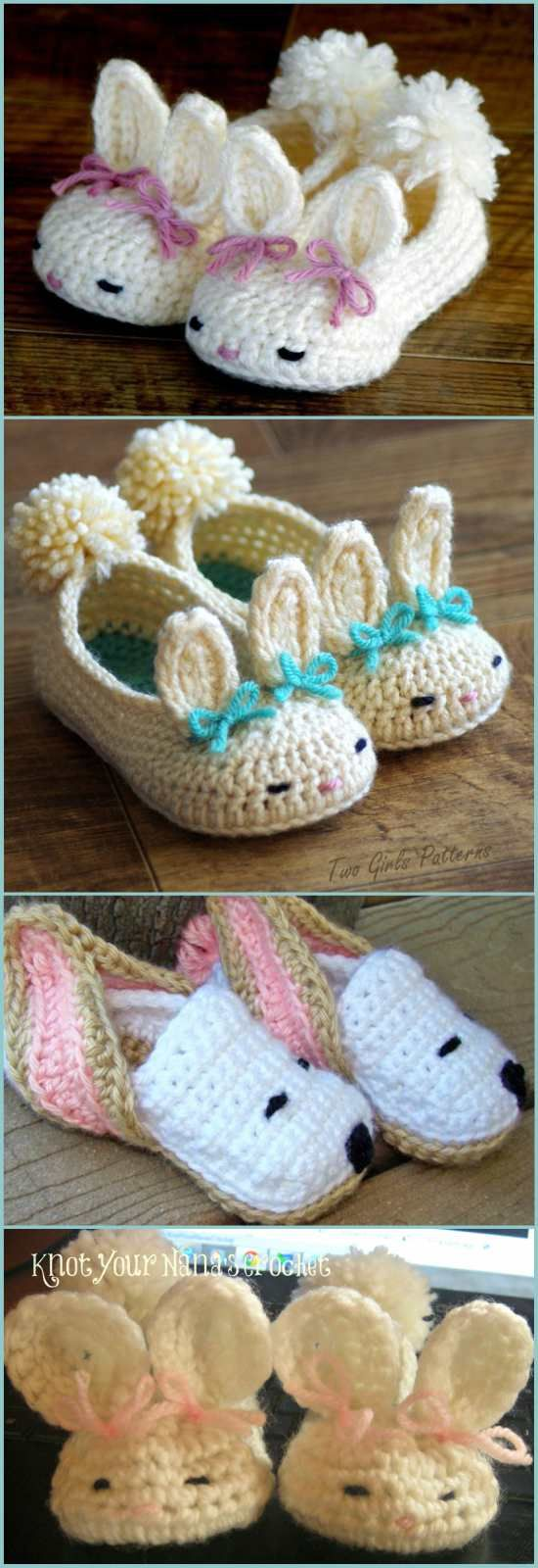 Baby Bunny Slippers [Crochet Patterns, Free Crochet Patterns and Video Tutorials]