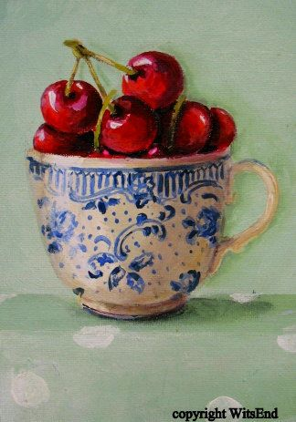 """""""LIFE IS JUST A CUP OF CHERRIES SOMETIMES"""",   Cherry Tea Cup original painting  FREE USA shipping.  via Etsy. SOLD"""