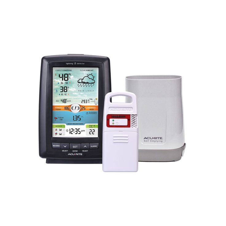 AcuRite Color Weather Station with Rain Gauge & Lightning Detector, Multicolor
