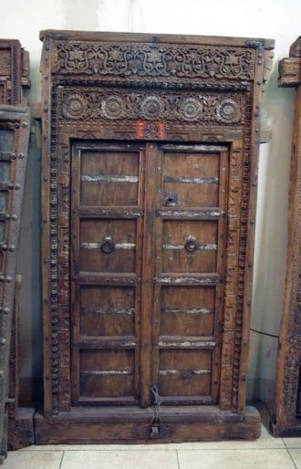 An Old Indian Door Xix Century Handwork Bright Decorative