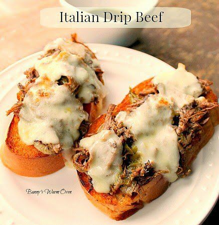 Pioneer Woman's Italian Drip Beef-can be made in crock pot, just cook for 9-11 hours on low.