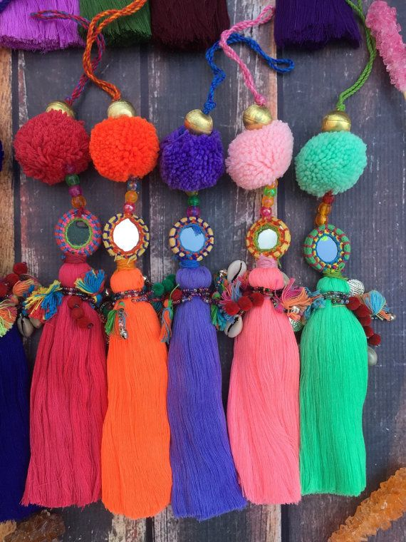 "Large Luxe Tassel Pom Pom Charms, Summer Colors, 10"", Designer Quality, Bright…"