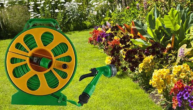 50ft Flat Hose With Reel and 7-Style Spray Gun Hydrate your lawn with the the 50ft Flat Hose Pipe Reel Set      Nozzle with 7 spray patterns: full, flat, vertical, fine mist, mist, shower, and jet      Durable and ultra light for easier carrying      The
