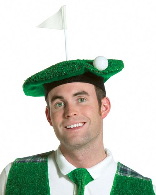 Hole in One Scottish Golfer Hat - This stylish beret like hat is a fun playful golf hat.It has a black felt rim and dark green felt underside. The top is made of fake turf with a dangling golf ball and a little white flag that stands straight up.Great to go golfing, wear with a golfers costume, or to a hat party. #golf #yyc #costume #hat #halloween