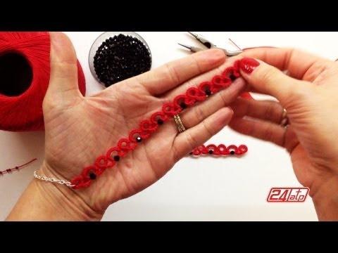 Chiacchierino Ad Ago - 15˚ Lezione Braccialetto Bracciale Con Perline - Tutorial Come Fare Tatting