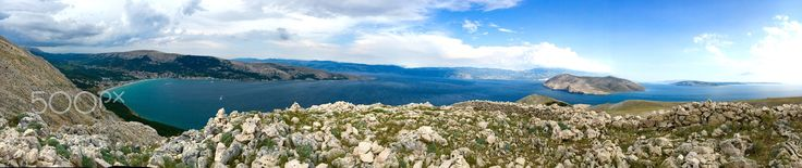 Amazing view of Baška - Croatia, Krk island, Baska city, panorama photo