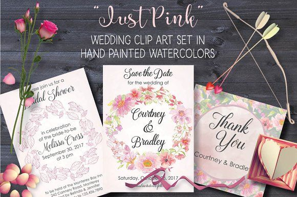 'Just Pink': watercolor bundle by Lolly's Lane Shoppe on @creativemarket