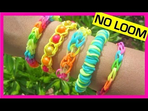 How to Make Loom Bands. 5 Easy Rainbow Loom Bracelet Designs without a Loom - Rubber band Bracelets - YouTube