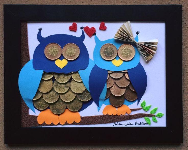 Wedding gift, svatební dar, money, peníze, original, originální svatební dar, blue, modrá, couple, pár, married, novomanželé, love, láska, owl, sova, art, obraz