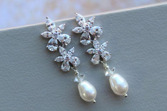 SALE Art Deco Pearl stud earrings, Bridal Earrings, Bridal Jewelry ,Pearl Drop  Earrings Bridal Jewelry Crystal  Earrings ,Wedding Jewellery
