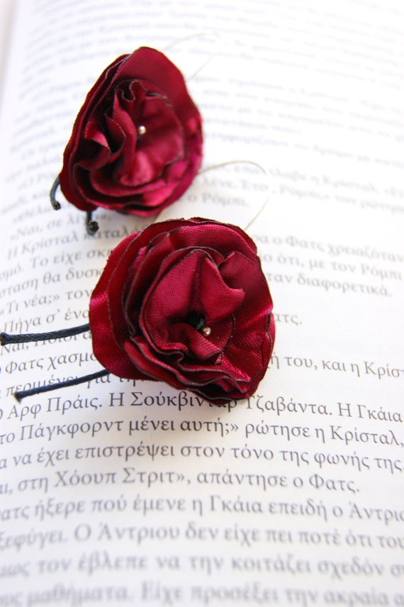 Ruby Red  Fabric Flowers by RenatasArt on Etsy, €14.00