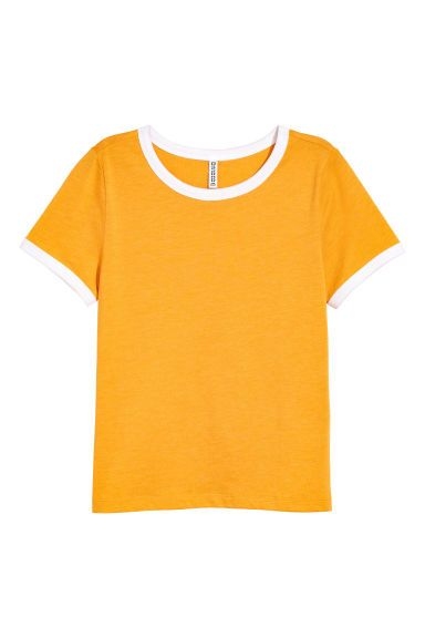 Krátke tričko - horčicovožltá - ŽENY | H&M SK